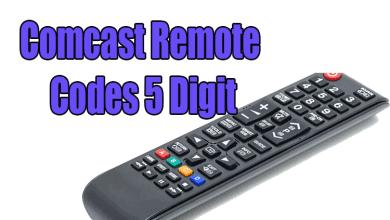 comcast remote codes 5 digit